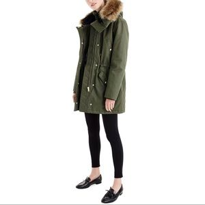 New J.Crew Perfect Winter Parka with Faux Fur Trim